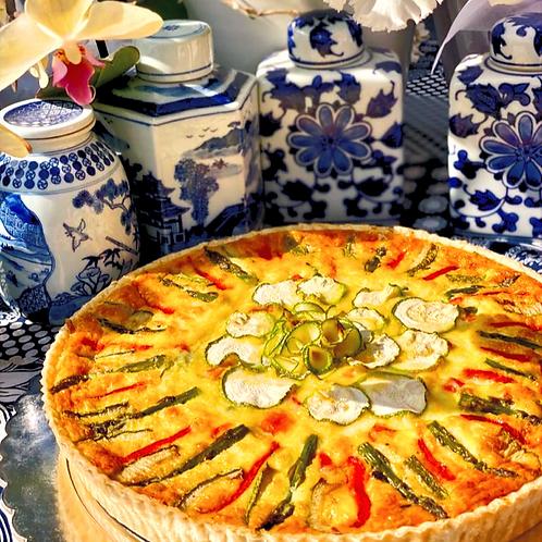 Quiche de Zucchini , Espárragos y Pimientos Grillé  (6 personas)