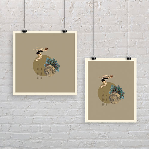 Moonlight Diver 5 - Art Print
