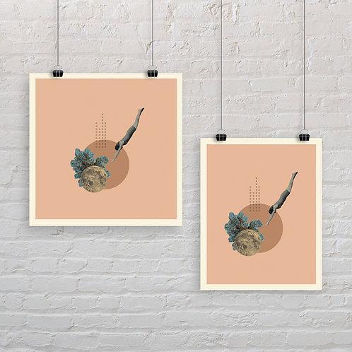 Moonlight Diver 1 - Art Print