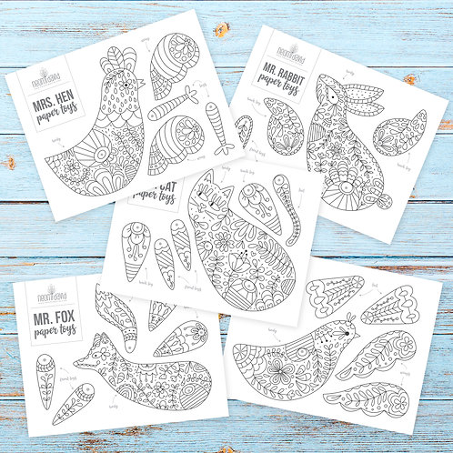 Animals -  Coloring Paper Toy Pack