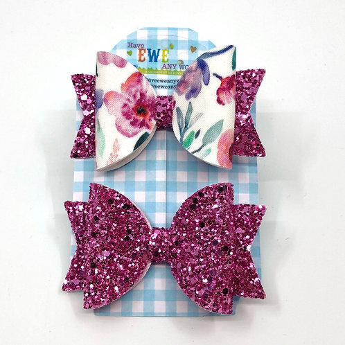 2 Pk of Flowers & Pretty Pink Glitter Medium Hair Bow Clips