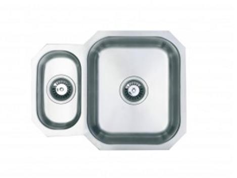 SC001 Undermount reversible 1.5 bowl kitchen sink in brushed steel finish.