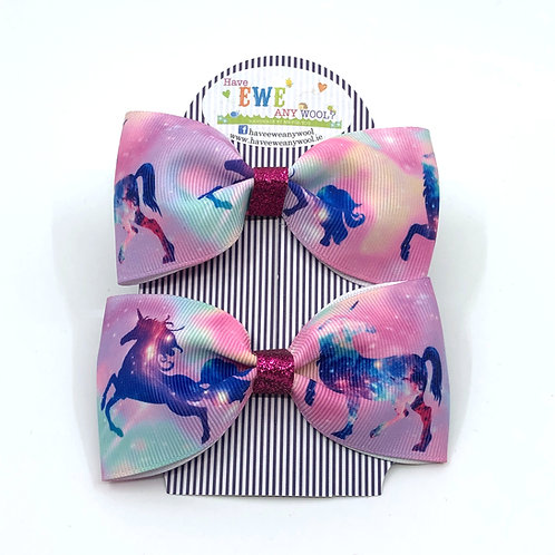 2 Pk of Dancing Unicorns Print Ribbon Hair Bow Clips