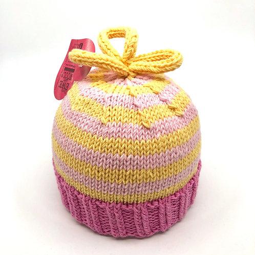 Soft Pink & Lemon Striped Hat