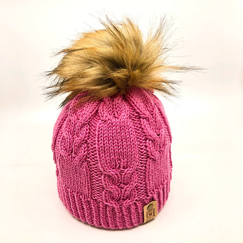 Rose Pink Winding Rivers Beanie with Golden Brown Faux Fur Pom Pom