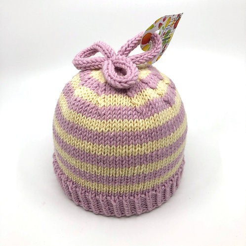 Soft Pink & Off White Striped Hat