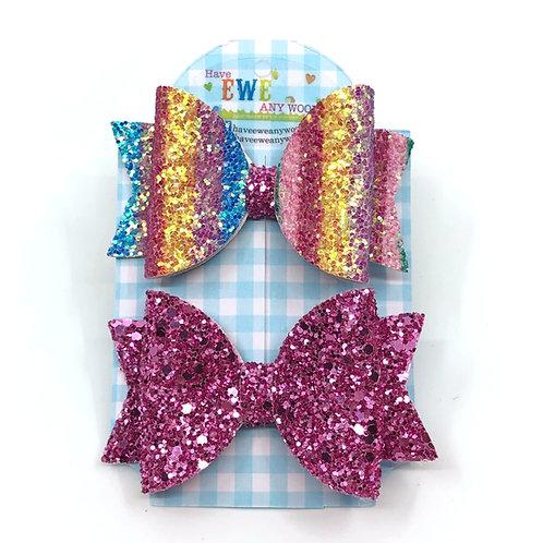 2 Pk of Rainbow Striped & Pretty Pink Glitter Medium Hair Bow Clips