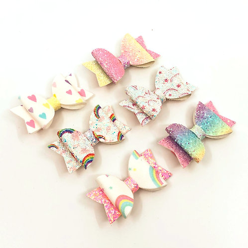 6 Pk 'Oodles of Rainbows' Small Hair Bows, Hair Clips