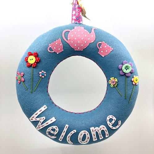 Soft blue 'Welcome' Wreath