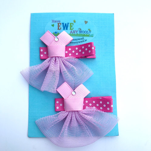 2pk Ribbon Sculpture Pink Dress Clips