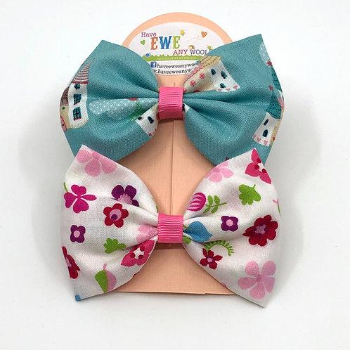 2 Pk of Castles & Flowers Fabric Medium Hair Bow Clips