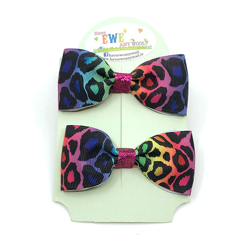 2 Pk of Rainbow Leopard Print Ribbon Hair Bow Clips