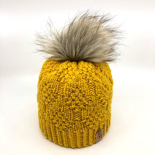 Mustard Diamond Pebble Beanie with Soft Grey Faux Fur Pom Pom