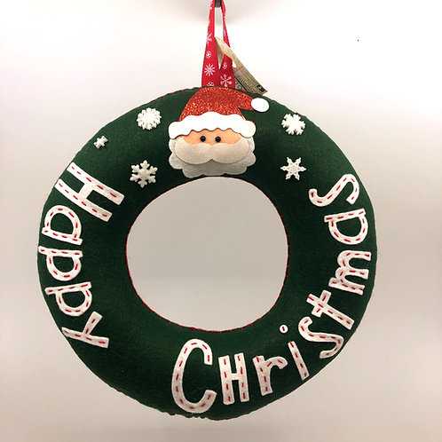 Forest Green Happy Christmas Wreath with Santa