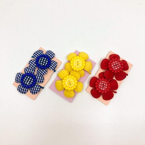 3 Pairs of Blue, Yellow & Red Snag Free Hair Bobbins/  Elastics/ Go-Go's