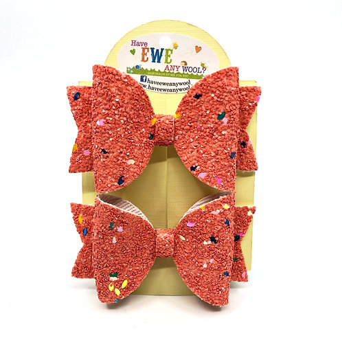 2 Pk of Coral Glitter Medium Hair Bow Clips