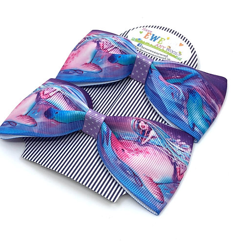 2 Pk of Mermaids & Narwhals Print Ribbon Hair Bow Clips