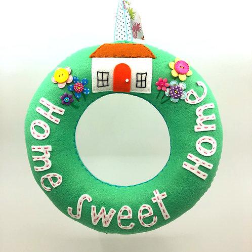Soft Mint 'Home Sweet Home' Wreath