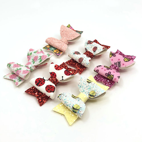 6 Pk 'Flowers & Critters' Small Hair Bows, Hair Clips