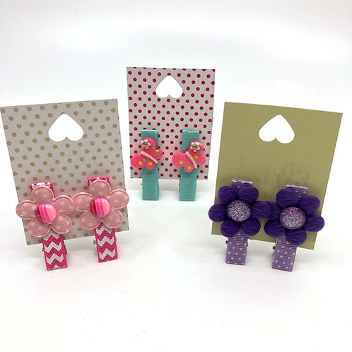 3 Pairs of Pink, Aqua & Lilac Embellished No Slip Crocodile Clips