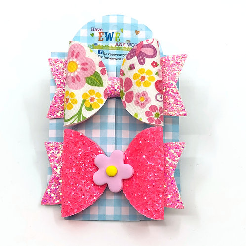 2 Pk of Floral Print and Flower Clay Medium Hair Bow Clips