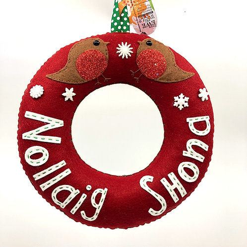 Burgundy Nollaig Shona Wreath with Sparkly Robins