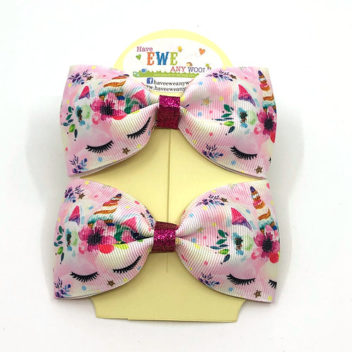 2 Pk of Pink Sleeping Unicorn Ribbon Hair Bow Clips