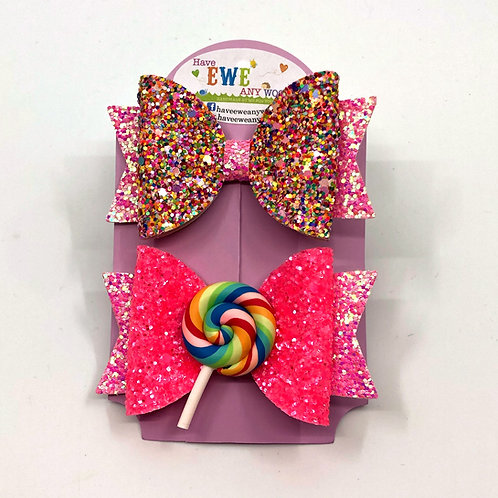 2 Pk of Rainbow Sprinkle and Lollipop Clay Medium Hair Bow Clips
