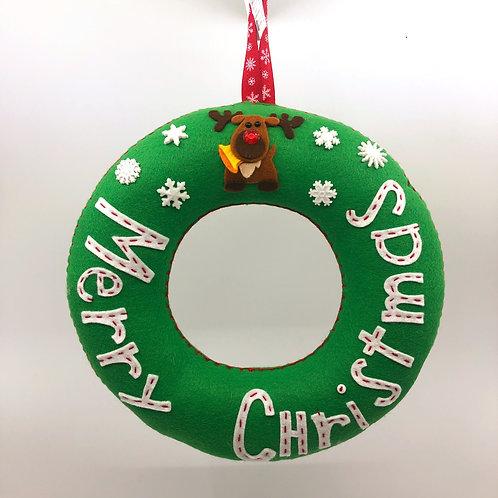 Joyous Green Merry Christmas Wreath with Rudolph