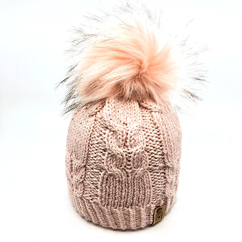 Softest Pink Winding Rivers Beanie with Soft Pink Faux Fur Pom Pom