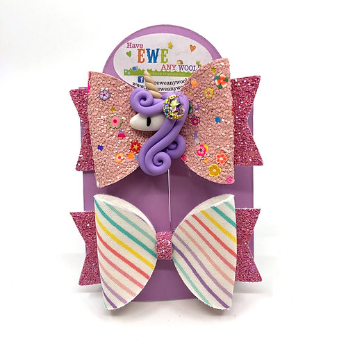 2 Pk of Stripes and Unicorn Clay Medium Hair Bow Clips