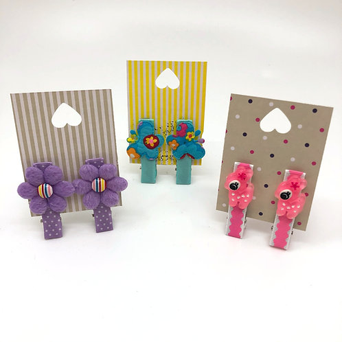 Pairs of Lilac, Aqua & Pink Embellished No Slip Crocodile Clips