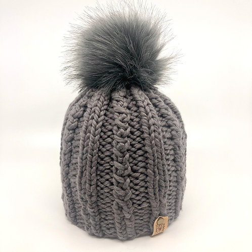Mid Grey Melrose Beanie with Grey Faux Fur Pom Pom