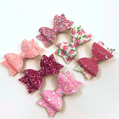 6 Pk 'Shades of Pink' Small Hair Bows, Hair Clips
