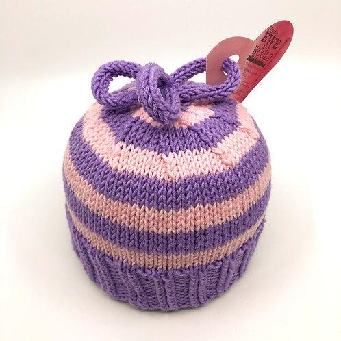 Soft Purple & Pale Pink Striped Hat