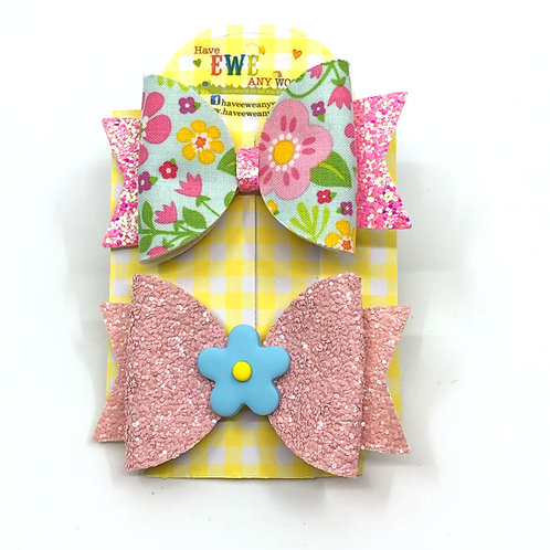 2 Pk of Floral and Flower Clay Medium Hair Bow Clips