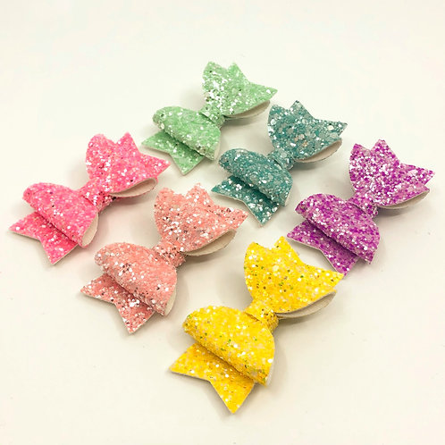 6 Pk 'Colours of the Rainbow' Small Glitter Bows, Hair Clips