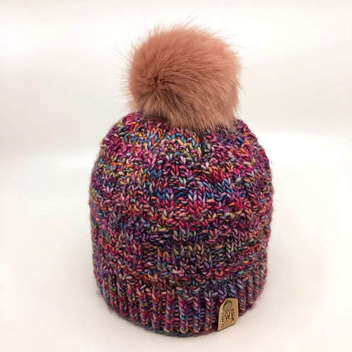 Multicoloured Pink Diamond Pebble Beanie with Rose Pink Faux Fur Pom Pom