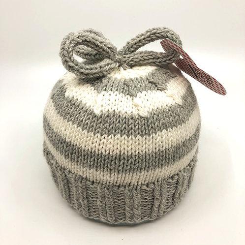 Grey & Off White Stripey Hat