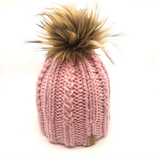 Soft Pink Melrose Beanie with Light Brown Faux Fur Pom Pom
