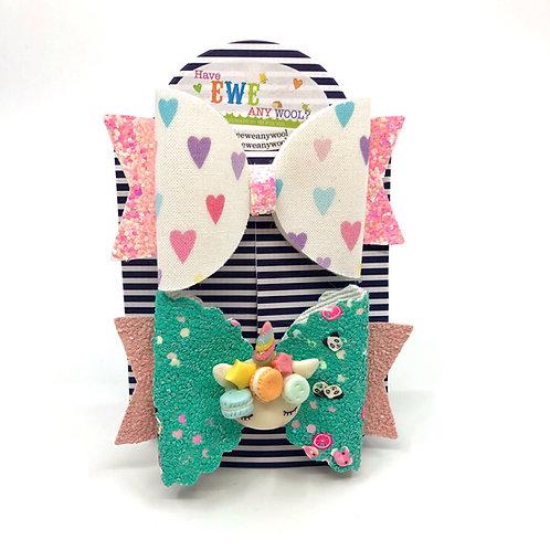 2 Pk of Hearts and Macaron Unicorn Clay Medium Hair Bow Clips
