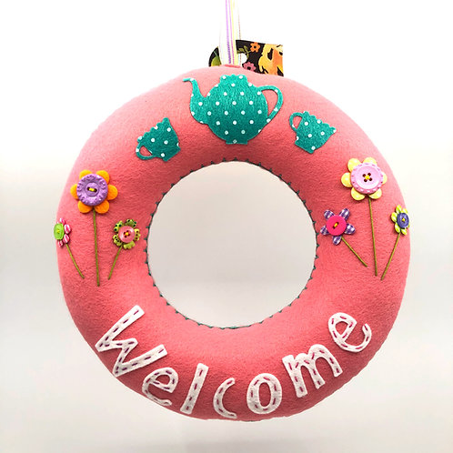 Soft Pink 'Welcome' Wreath