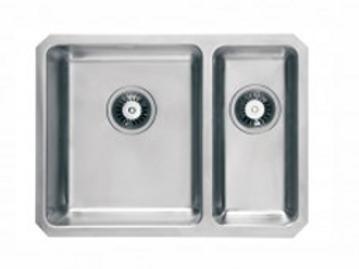 SC 003 undermount 25mm radius, 1.5 bowl kitchen sink in brushed steel finish.