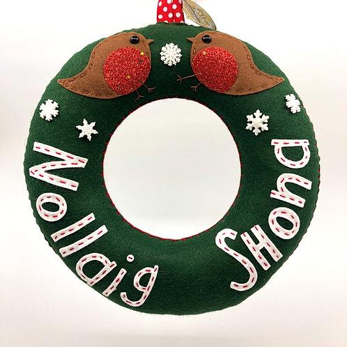 Deep Green Nollaig Shona Wreath with Sparkly Robins