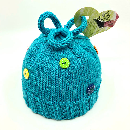 Turquoise Loopy Top Hat with Buttons