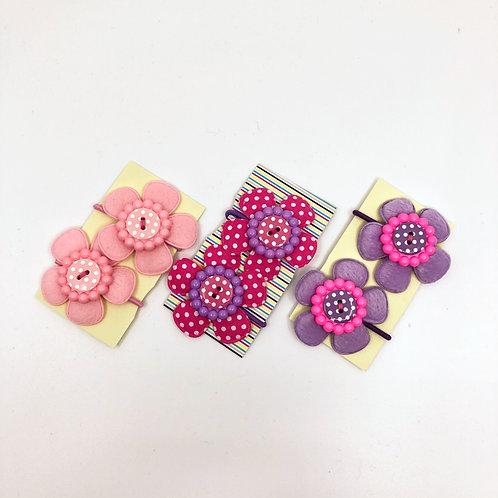 3 Pairs of Pink & Lilac Snag Free Hair Bobbins/  Elastics/ Go-Go's