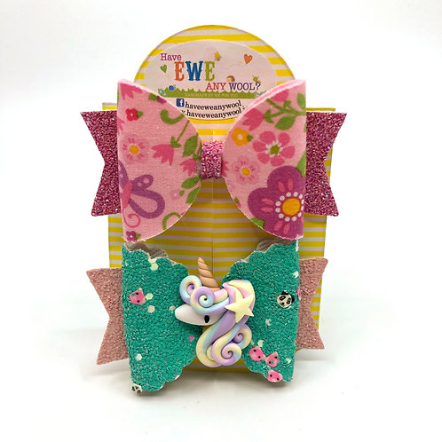 2 Pk of Floral and Unicorn Clay Hair Bow Clips
