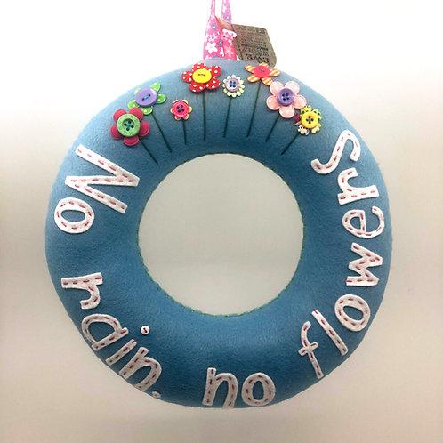 Soft blue 'No Rain, No Flowers' Wreath