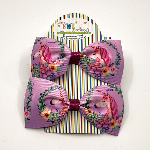 2 Pk of Unicorn Ribbon Hair Bow Clips