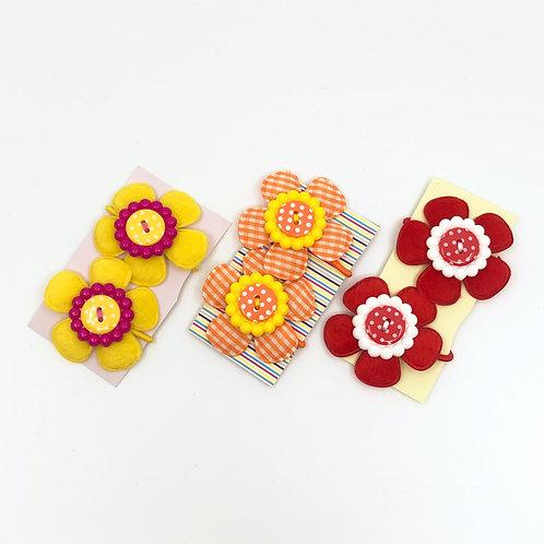 3 Pairs of Yellow, Orange & Red Snag Free Hair Bobbins/  Elastics/ Go-